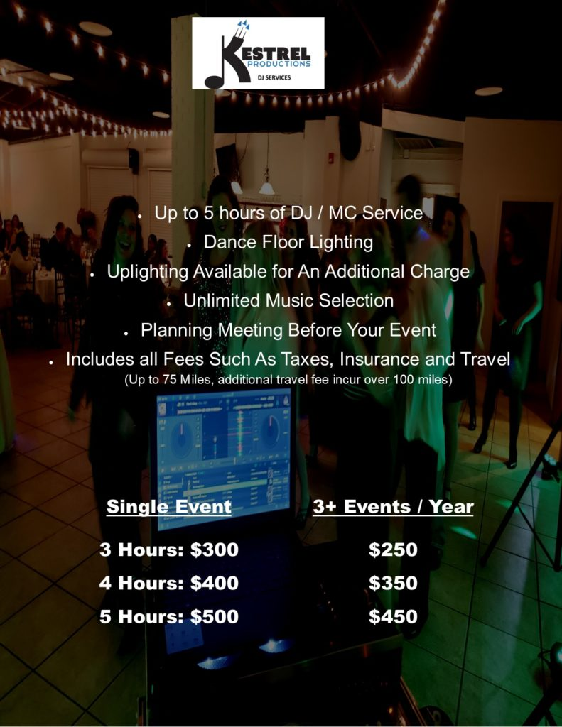Kestrel Party Pricing